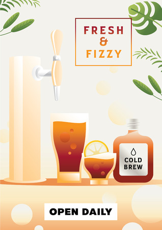 fresh and fizzy soft drink colorful vector illustration Ilustracja
