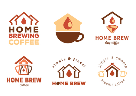 home brewing coffee badge design with home icon vector illustration Ilustracja