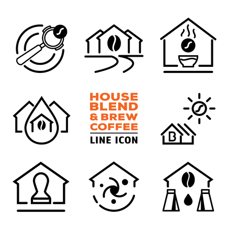house blend and brew coffee line icon vector illustration
