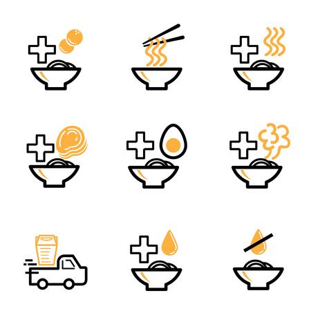 order ramen icon design for restaurant business with ramen bowl,noodels,soup,delivery and chopsticks vector illustration Ilustracja