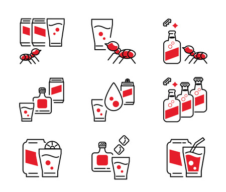soft drink icon design with glass,bottle,ice,bottle,ant,fruit line icon