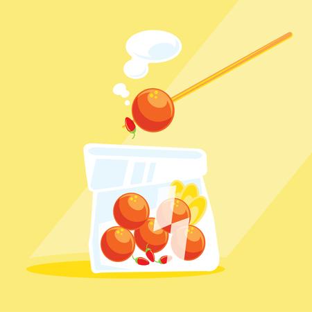 sour sausage street food in plastic bag vector illustration