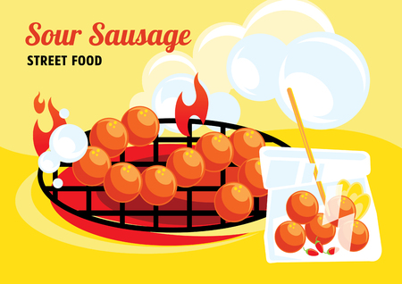 sour sausage street food colorful vector illustration with plastic bag , fresh chilli and sour ginger Ilustracja