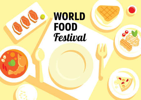 world food festival with varity menu from Thailand,Japan,America and Italy flat illustration Illustration