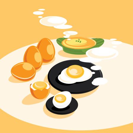 color fresh egg cooking menu vector illustration Ilustracja