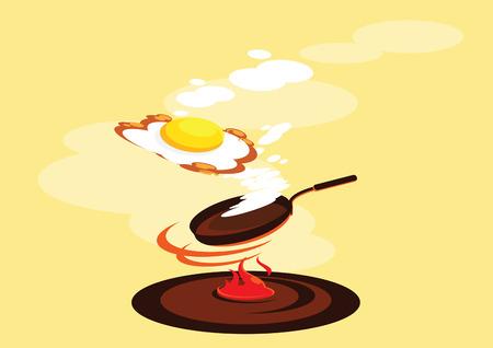 side up egg smoked fried egg fresh cook vector  illustration Illustration