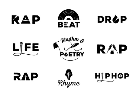 hip hop element with word design about rap,rhyme,rhythm,life,poetry,beat,drop vector illustration