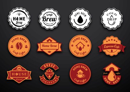 coffee home brew badge design with coffe drop, coffee bean, paper filter ,round shape and ribbon flat illustration