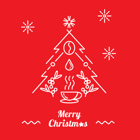 Merry Christmas with a cup of hot coffee,coffee bean,coffee drop with Christmas tree line illustration Illustration