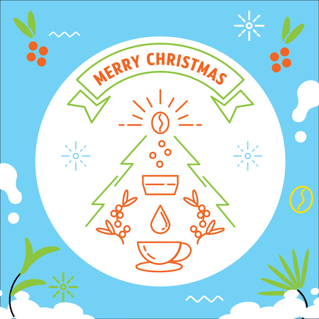 colorful Merry Christmas with coffee making vector line illustration Ilustracja