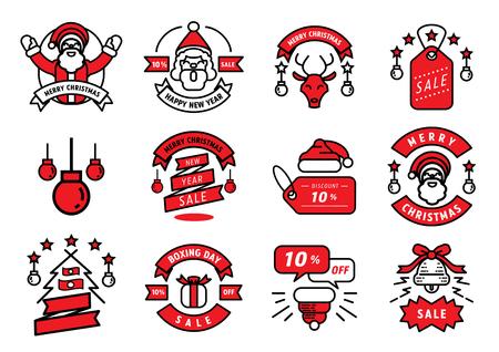 merry Christmas badge line design and Christmas tree,Santa Claus,Santa Claus hat,ring,star element vector illustration.