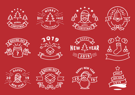 Christmas and new year line graphic elementwith Santa Claus,bell,tree,sock,ribbon,gift box and star vector illustration.