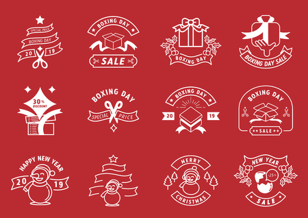 boxing day line badge design sale promotion vector illustration with snow man,scissors,ribbon,box,tree,hand and egg