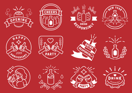 drink responsibly party badge line design vector illustration with alcohal drinking. Ilustracja