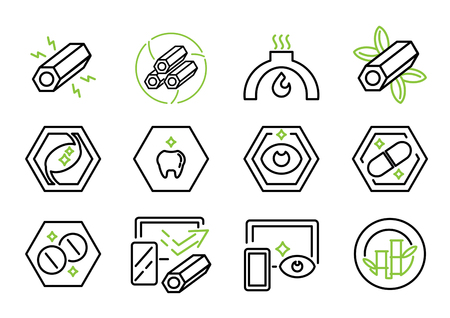 active charcoal line icon vector illustration with eye,stomach benefit, Ilustracja