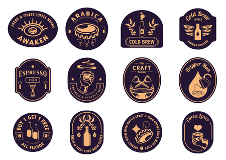 variety classic coffee badge design with coffee beans,bottle,bottle cap,coffee dripper,cup of hot coffee,smoke and eye logo vector illustration. Zdjęcie Seryjne - 121194009