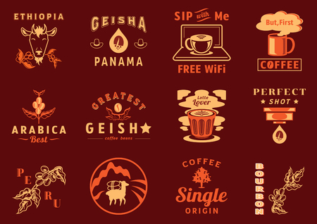 graphic element for coffee cafe with goat eat coffee fruit,lama ,coffee leaf,tree,laptop,cup,mountain landscape espresso drop and tamper vector illustration