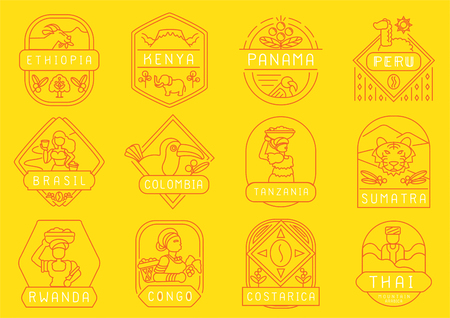 variety of country plant single origin coffee farm line badge design with Ethiopia,Kenya,Panama,Peru,Brazil,Colombia,Tanzania,Sumatra,Rwanda,Congo,Costa Rica and Thailand.