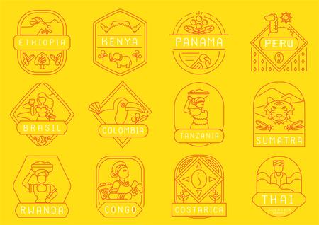 variedad de diseño de insignia de línea de finca de café de origen único de planta de país con Etiopía, Kenia, Panamá, Perú, Brasil, Colombia, Tanzania, Sumatra, Ruanda, Congo, Costa Rica y Tailandia.