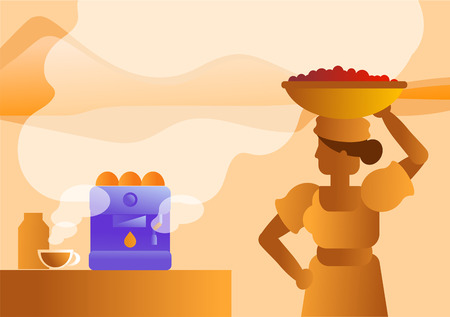 woman coffee farmer bring fresh coffee beans from farm to cafe vector illustration