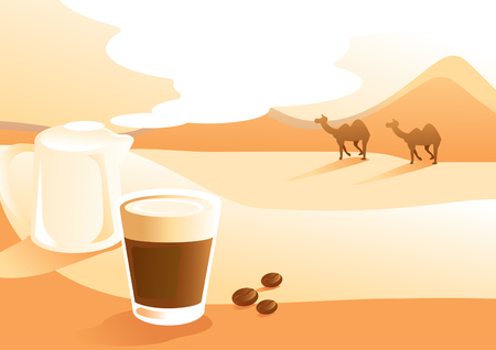 café con leche con ilustración de vector de fondo de vista del desierto con camello caminando Ilustración de vector