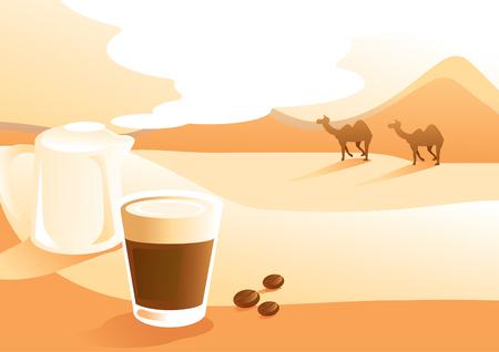 caffè al latte con sfondo vista deserto illustrazione vettoriale con cammello a piedi Vettoriali