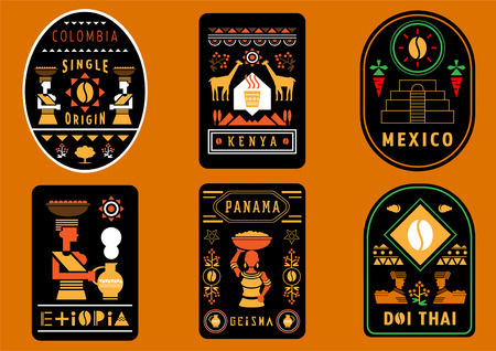 coffee label design from best single origin in the world with geometric illustration of Colombia,Kenya,Mexico,Ethiopia,Panama and Thailand.  イラスト・ベクター素材