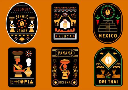 diseño de etiquetas de café del mejor origen único del mundo con ilustración geométrica de Colombia, Kenia, México, Etiopía, Panamá y Tailandia.
