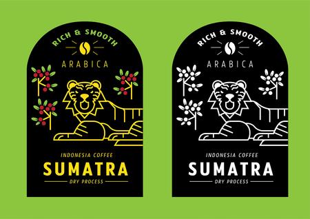 Sumatra Arabica coffee bean label design with tiger vector illustration