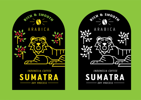 Sumatra Arabica coffee bean label design with tiger vector illustration Stock Vector - 125873091