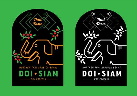 Thai taste mountain coffee label design call Doi Siam with elephant eat fresh coffee fruit