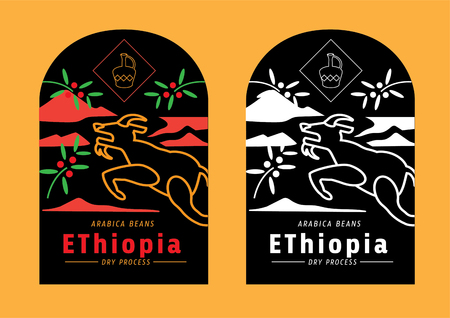 color Ethiopia coffee beans label with goat jumping vector illustration Illustration