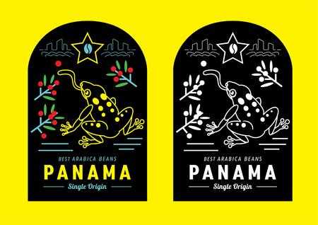 Diseño colorido de la etiqueta del café de Panamá con la ilustración del vector de la rana dorada