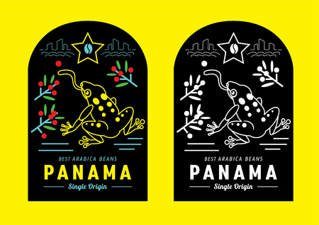 colorful Panama coffee label design with golden frog vector illustration