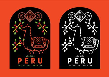 Peru coffee label design with lama vector illustration Ilustracja