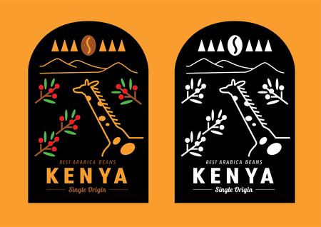 Disegno dell'etichetta del chicco di caffè del Kenya con la giraffa nell'illustrazione vettoriale del giardino del caffè coffee Vettoriali