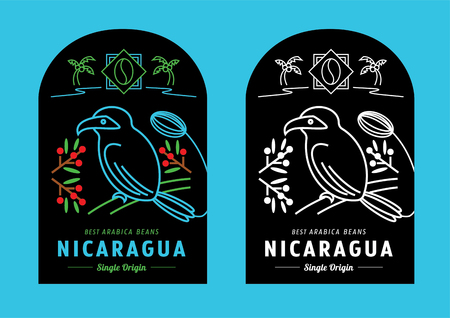 Nicaragua coffee beans label design vector illustration with bird