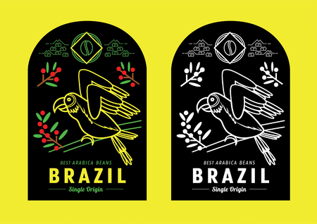 Brazil coffee label design with macaw vector illustration