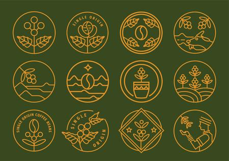 premium single origin line badge design set vector illustration with coffee fruit,leaf,farmer and cup.