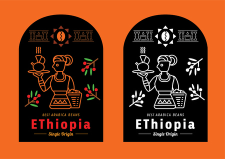 colorful Ethiopia coffee label with local farmer vector illustration Stock Illustratie