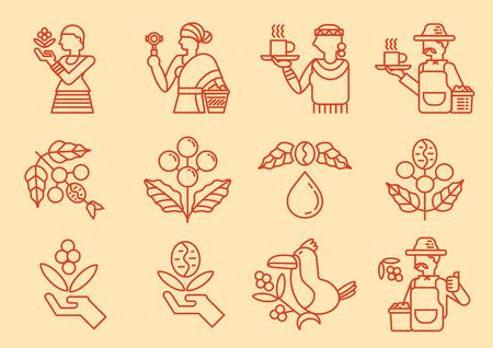 Icono de línea de agricultor de café local con ilustración de vector de árbol de café Ilustración de vector