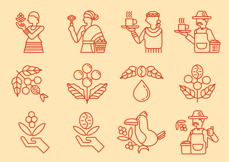 local coffee farmer line icon with coffee tree vector illustration Иллюстрация