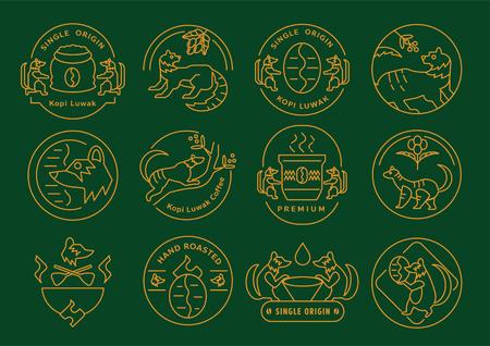Ilustración de vector de diseño de icono de línea de café Kopi Luwak de origen único con cafeto, frutas, gorra y frijoles.