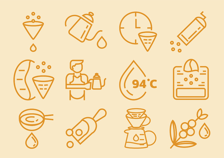 drip coffee line icon with filter paper,jug,beans,grinder, vector illustration Illustration
