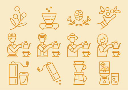 coffee dripper line icon design with brewing process vector illustration