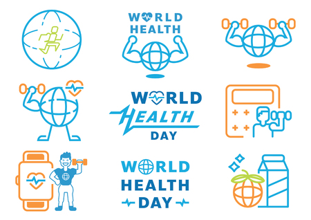 world health day graphic element with word design,heart rate wave,fitness man,runner,muscle,dumbell and fresh milk vector illustration,