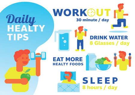 daily healthy tips illustration with man character flat design style