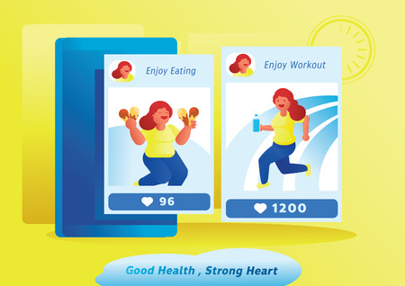 good health strong heart woman before and after loss weight vector illustration