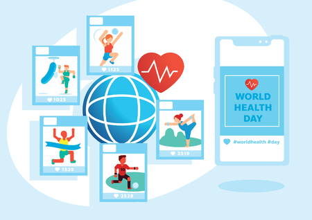 variety activity in world health day vector illustration background with people playing volleyball,boxing,running,football and yoga