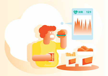 heart rate check when fat boy eat junk food vector illustration background